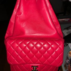 CHANEL Red Classic Lambskin Backpack Rucksack